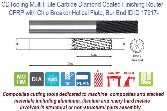 CFRP for Composite Milling Chip Breaker Rough Burr End, Finish Carbide Diamond Coated Finishing Router ID 17917-