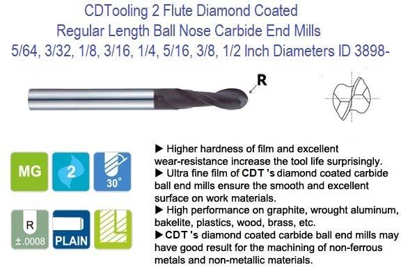2 Flute Diamond Coated Regular Length Ball Nose Carbide End Mills 5/64, 3/32, 1/8, 3/16, 1/4, 5/16, 3/8, 1/2 Inch Diameters ID 3898-