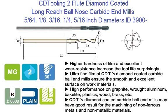 2 Flute Diamond Coated Long Reach Ball Nose Carbide End Mills 5/64, 1/8, 3/16, 1/4, 5/16 Inch Diameters ID 3900-