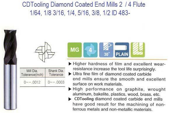3//8 x 3//4 x 4 .030 Radius 4 Flute CVD Diamond Coated Carbide End Mill