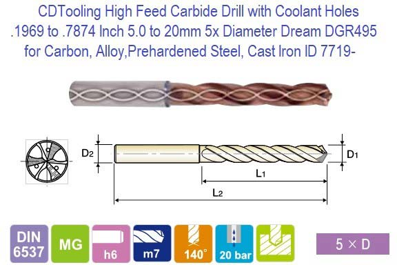 .1969 to .7874 Inch 5.0 to 20 mm 5x Diameter Coolant Hole Carbide Drills Dream DGR495 Carbon, Alloy Steel, Cast Iron ID 7719- (COPY)