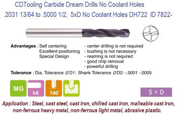 .2031 13/64 to .5000 1/2 Inch Dia Carbide Dream Drills 5xD No Coolant Holes DH722 Steel, Cast, Non-Ferrous, Abrasive Material Plastic ID 7822-