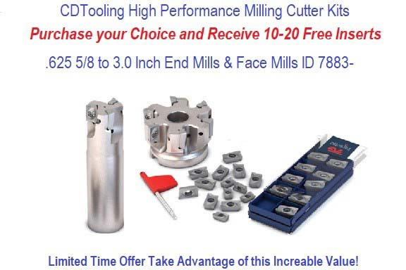 High Performance Indexable End Mills or Facemills with Free APKT Carbide Inserts Promotion ID 7883-