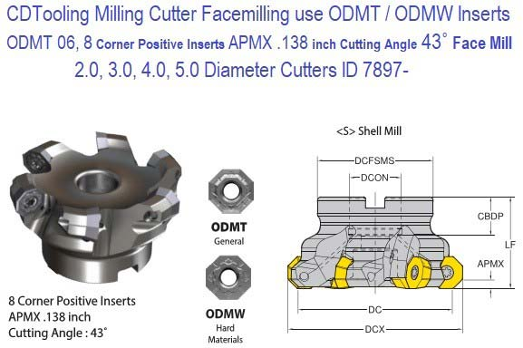 """face milling cutter 2-1//2/"""" 45 degree indexable face shell mill CAT40 Arbor new"""