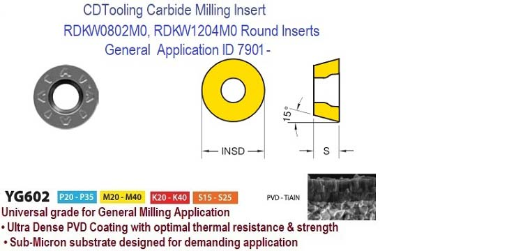 RDKW0802, RDKW1204, M0 YG602, Carbide Milling Inserts General Hardened Materials , Cast Irons 10 Pack ID 7901-