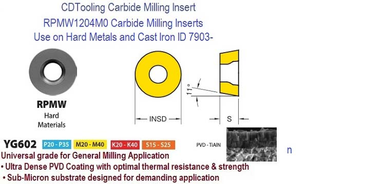 RPMW1204M0 YG602, Carbide Milling Inserts for Hard Metals , Cast Iron 10 Pack ID 7903-