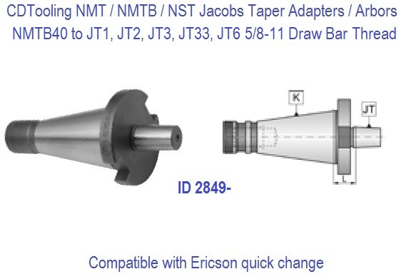NMTB40 NST40 to JT1, JT2, JT3, JT33, JT6. Jacobs Taper Adapter / Drill Chuck Arbor ID 2949-