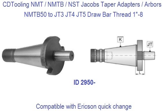 NMTB50 NST50 to JT2, JT3, JT5 Jacobs Taper Adapter / Drill Chuck Arbor ID 2950-