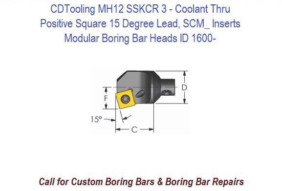 MH12 SSKCR 3- Modular Boring Bar Head Positive Square 15 Degree Lead, Coolant Thru, SCM_ Inserts ID 1600-