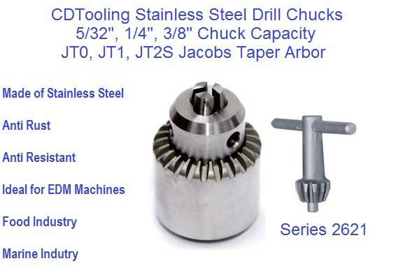 Stainless Steel Drill Chucks 5/32 1/4 3/8 Capacity, JT0 JT1 JT2S Jacobs Taper ID 2621-