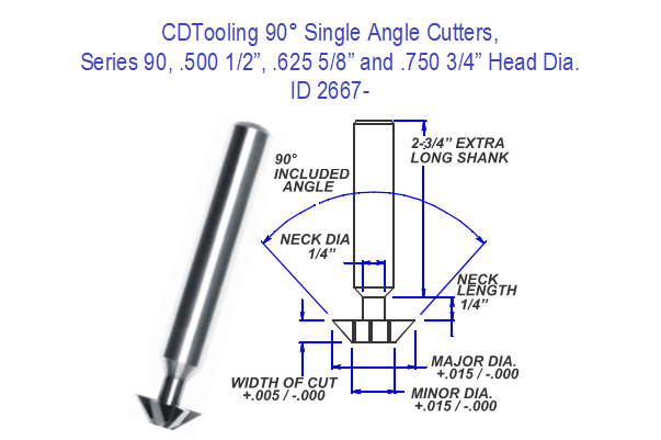 90 Degree Single Angle Carbide Cutter 1/2, 5/8, 3/4, Head Diameter Series 90 ID 2667-