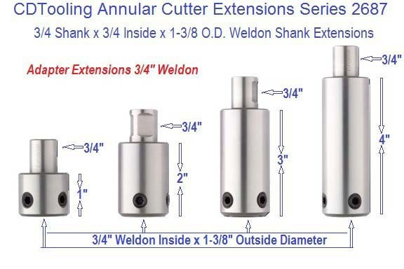 Annular Cutter Extensions 3 4 Inch Weldon X 1 2 3 4