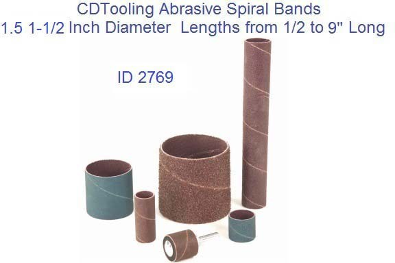 Abrasive Spiral Bands 1.50 1-1/2 Inch Diameter from .500 to 9
