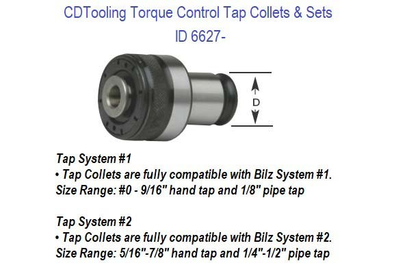 Torque Control Tap Collets and Sets, 0 to 7/8 Hand Taps 1/8 to 1/2 NPT Compatible with Universal-Bilz ID 6627- (COPY)
