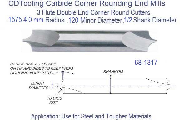 .1575 4.0mm x .120 Minor Diameter x 1/2 inch Shank Corner Round End Mill  68-1317