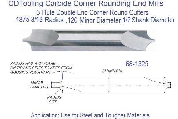 .1875 3/16 mm x .120 Minor Diameter x 1/2 inch Shank Corner Round End Mill  68-1325