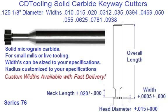 .125 1/8 Diameter .010 .015 .020 .025 .0312 .0394 .0469 .050 .055 .0625 .0781 .0938 Width Solid Carbide Key Way Cutters Series 76