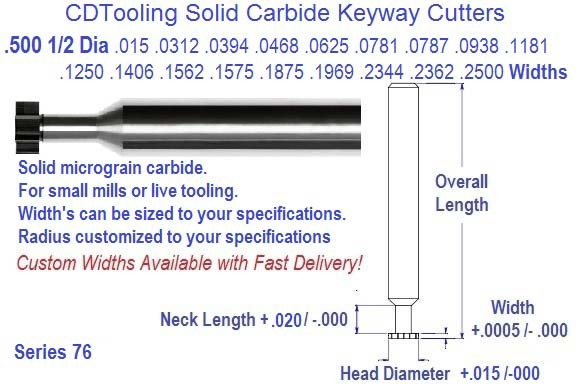 .500 1/2 Diameter .010 .015 .020 .0312 .0394 .0469 .0625 .0781 .0787 .0938 .1250 .1562 .1875 Width Carbide Key Way Cutters Series 76