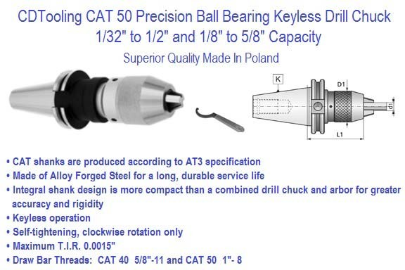 Keyless Drill Chuck CAT 50 Integral Shank 1/32 to 1/2 and 1/8 to 5/8 Inch Capacity