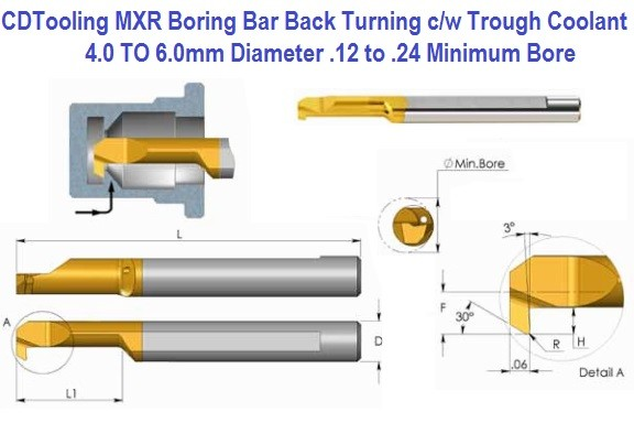 Boring Bar MXR Back Turning Carbide Tiny With Through Coolant