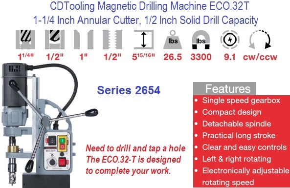ECO-32T  Magnetic Drill Machine 1-1/4 Annular Cutter, 1/2 Solid Drill, 1/2-13 Tap Capacity