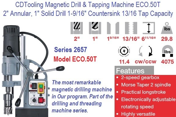 ECO.50T Magnetic Drill, Tapping Machine 2 Inch Annular 1 Inch Drill 13/16 Tap Capacity Series 2657-