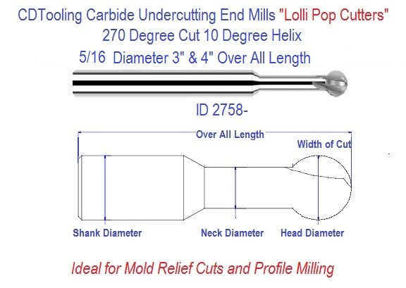 Undercutting Carbide End Mills, Lolli Pop Cutters 5/16 Diameters Series 29 ID 2758
