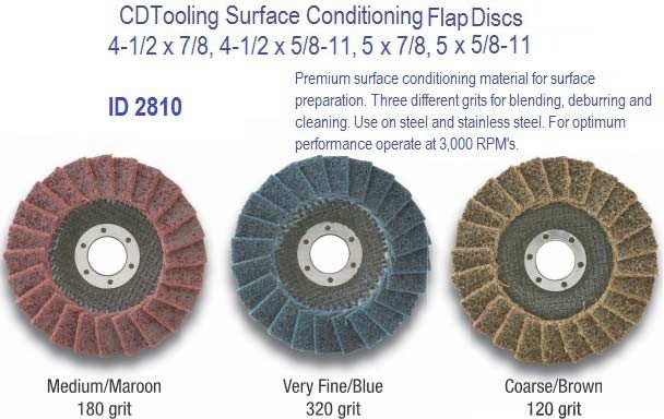 Surface Conditioning Flap Discs 4-1/2 and 5 Dia, 7/8 and 5/8-11 Type 29 Angle Face, Coarse, Medium, Very Fine ID 2810