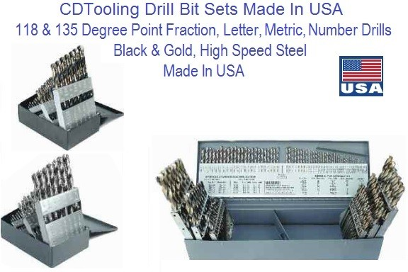 Drill Bit Sets High Speed Steel Made In USA Fractional. Metric, Number, Letter Sizes, Jobber and Stub Machine Screw Length ID 2715