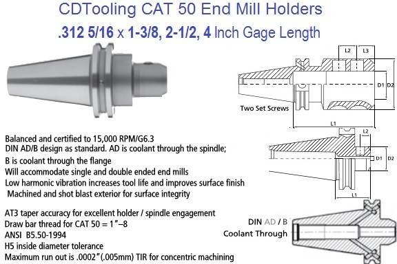 .312 5/16 CAT 50 End Mill Holder 1.37, 2.5, 4 Inch Gage Length