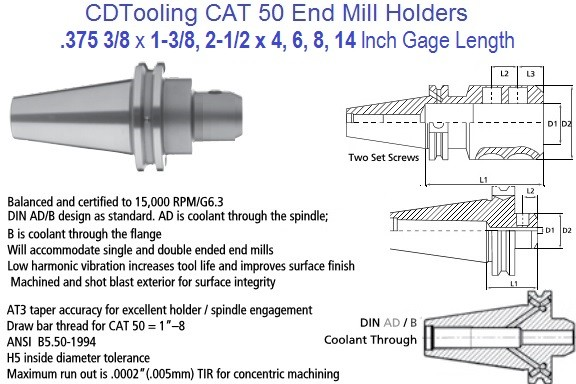 .375 3/8 CAT 50 End Mill Holder 1.37, 2.5, 4, 6 8, 14 Inch Gage Length