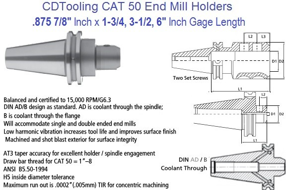 .875 7/8 CAT 50 End Mill Holder 1.75, 3.5, 6 Inch Gage Length