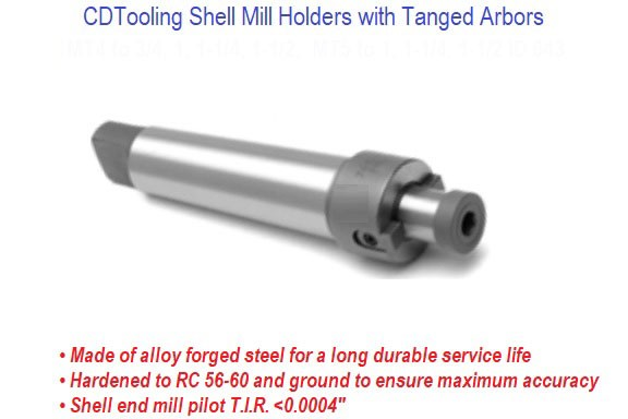 Morse Taper 4 (MT4) 3/4 Inch Arbor Diameter - Shell Mill Holders with Tanged Arbors - ID: 643-8-521-0010
