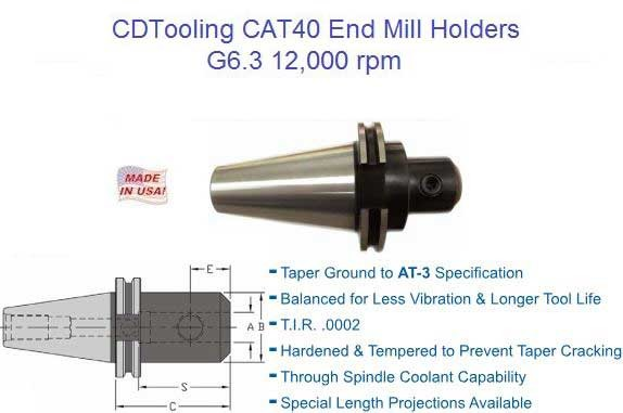CAT40 End Mill Holder/Adpater(G6.3) - I.D. DIA:0.125 O.D. DIA:0.69 Gauge L:2.50 - ID: 1744-CT40-EM012-250-G6