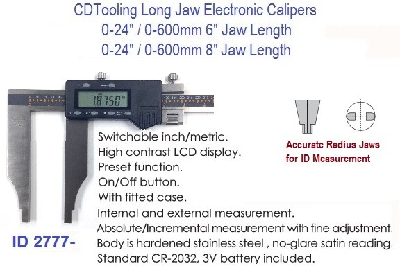 Long  Jaw Heavy Duty Electronic Digital Caliper 24 Inch 6 or 8 Inch Jaw Depth ID 2777-