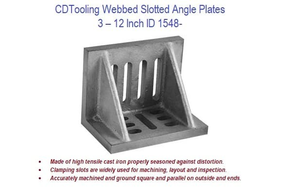 3-12 Inch Angle Plates Slotted, Webbed Cast Iron ID 1548-