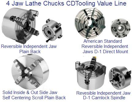 Lathe Chuck 4 Jaw Self Centering and Independent Plain Back, Camlock and Direct D1 Mount  ID 1288-