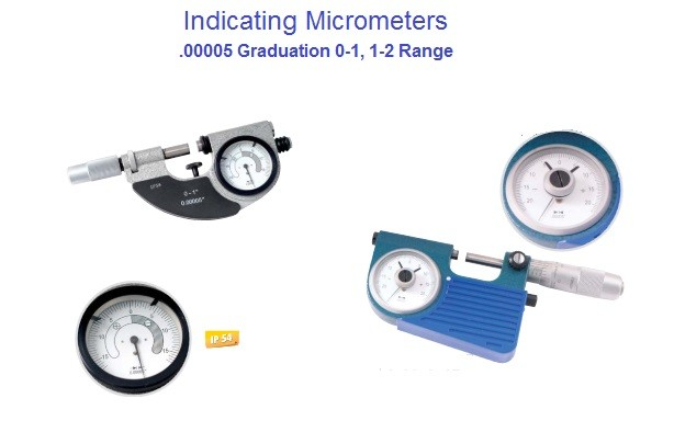 "Micrometer Indicating 0-1"" 1-2"" Range Ultra Precision 0.00005"" Resolution"