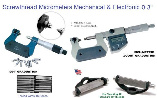 "Micrometer Screwthread 0-3"" Mechanical and Electronic Inch / Metric"