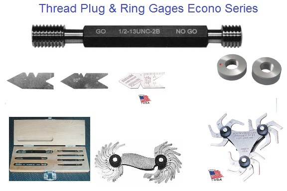 Thread Plug Gages, Ring Thread Gages Go No Go Economy Sets