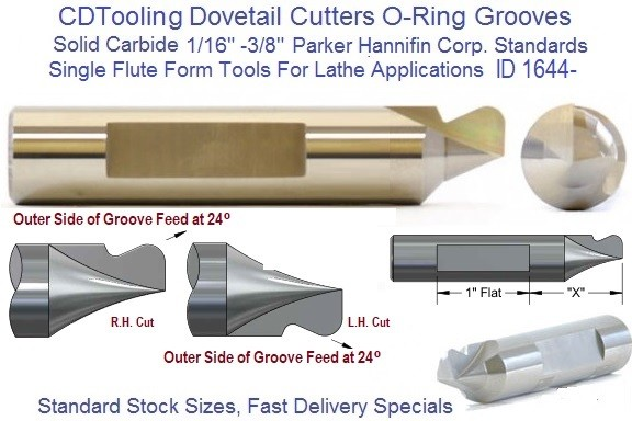 Dovetail O-Ring Cutters 1/16, 3/32, 3/16, 1/4, 3/8 Standard Parker Hannifin, Special Sizes for Lathe Use. Solid Carbide ID 1644-
