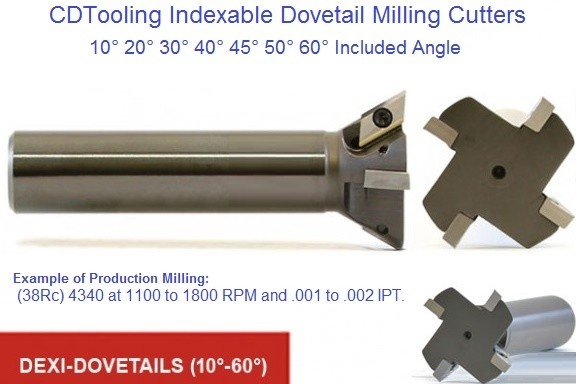 Indexable Carbide Dovetail Milling Cutters 10,20,30,40,45,50,60 Degree Included Angle ID 1655-