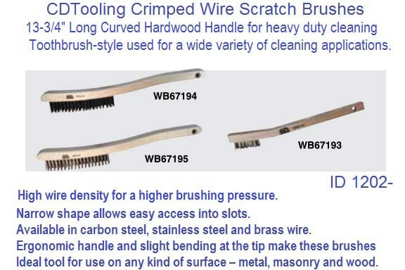 Wire Scratch Brush Hardwood Handle, Tooth Brush, Steel or Stainless Steel ID 1202-