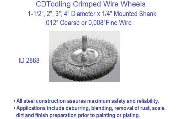 Crimped Wire Wheel Brush 1/4 Inch Shank 1-1/2, 2, 3, 4