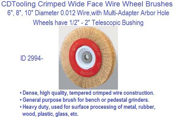 Crimped Wide Face Wire Wheel Brushes 6 8 10 Inch Diameter 012 Wire Size Id 2994
