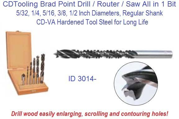 Brad Point Drill / Router / Saw All in 1 Bit 5/32, 1/4, 5/16, 3/8, 1/2 Inch Diameters Buck Packs ID 3014