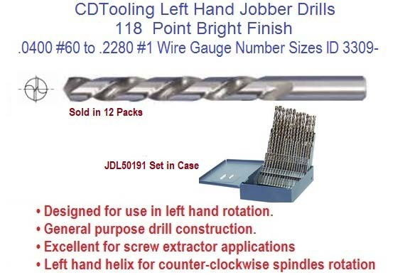 Wire Gauge Drill Bits | Left Hand Drill Bit Jobber Length Number 1 To 60 Wire Gauge Sizes Id