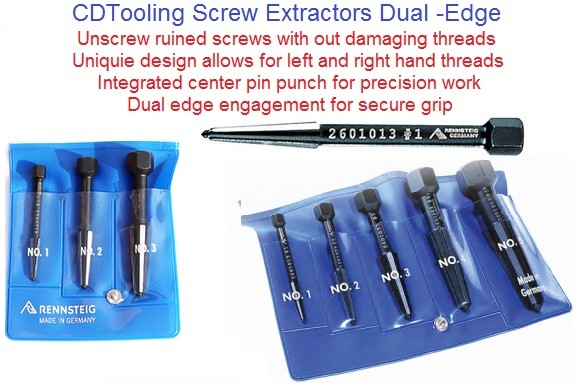 Screw Extractors Precision Dual Edge for Left or Right Hand Threads ID 2239-