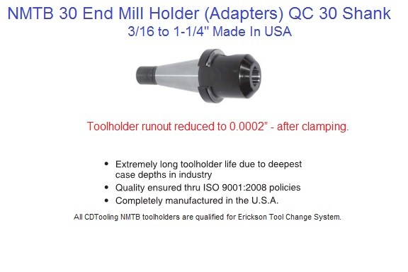 NMTB 30 End Mill Holder 3/16,1/4,3/8,1/2,5/8,3/4,1,1-1/4 Inch  Made in USA ID 1443-