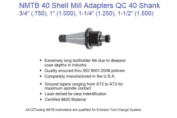 NMTB 40 Shell Mill Arbor / Adapters 3/4, 1